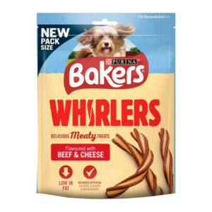 bakers whisrlers delicious meaty treats low in fat beef cheese 120gm sbpetshop
